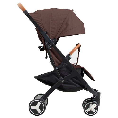 Прогулочная коляска Yoya Plus 3 (дожд., москит., подстак., бампер, сумка-чехол, бамбук. коврик, корзина д/пок, ремешок на руку, накидка на ножки) brown/black frame, цвет шасси: черный