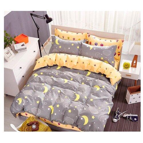 Постельное белье 2-спальное Sulyan Яркие сны сатин серый / желтый