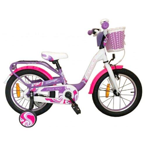 Детский велосипед STELS Pilot 190 16 V030 (2018) фиолетовый/розовый/белый (требует финальной сборки) велосипед stels pilot 450 2015