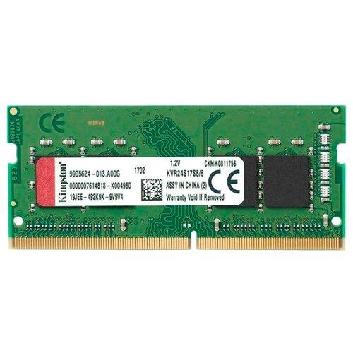 Оперативная память Kingston ValueRAM DDR4 2400 (PC 19200) SODIMM 260 pin, 8 GB 1 шт. 1.2 В, CL 17, KVR24S17S8/8 оперативная память kingston valueram ddr4 2400 pc 19200 sodimm 260 pin 8 гб 1 шт 1 2 в cl 17 kvr24s17s8 8
