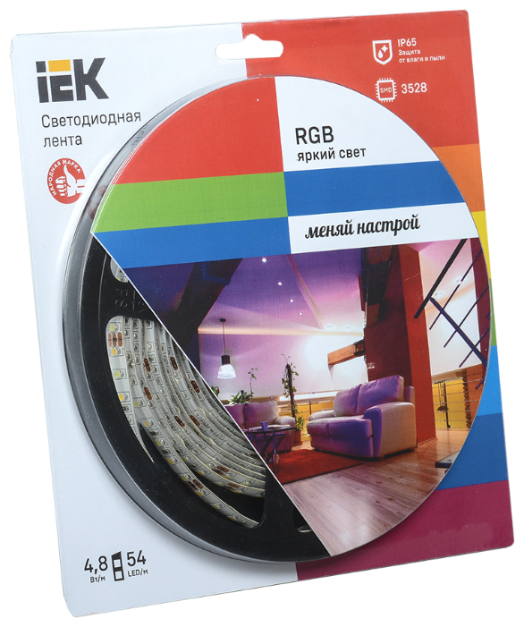 Лента светодиодная 5м блистер LSR-3528RGB54-4.8-IP65-12V IEK-eco