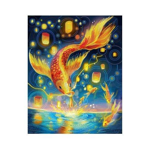 Алмазная живопись Набор алмазной вышивки Огненные карпы (АЖ-3026) 40х50 см