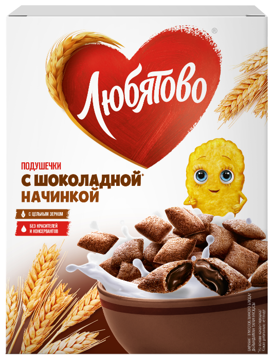 Готовый завтрак Любятово Подушечки шоколадные, коробка — купить по выгодной цене на Яндекс.Маркете