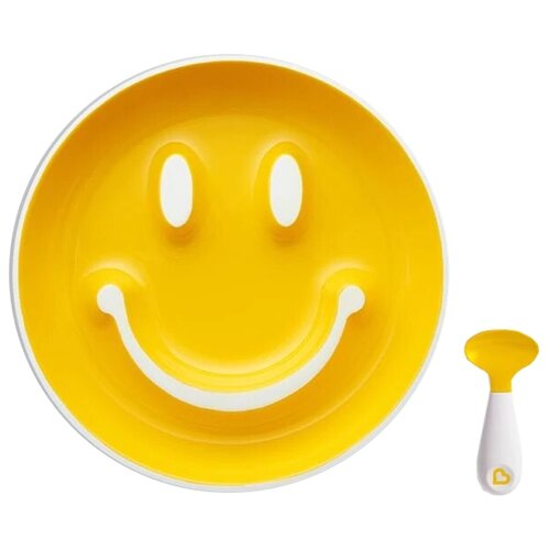 Купить Тарелка Munchkin Улыбка (12449) желтый, Посуда