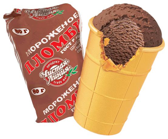 Мороженое Чистая линия пломбир Шоколадный в вафельном стаканчике, 80г