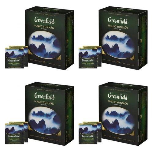 Чай черный Greenfield Magic Yunnan в пакетиках набор 4 упаковки, 400 шт. чай зеленый императорский чай collection china yunnan в пакетиках 500 шт