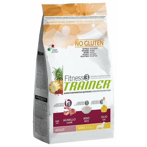 Корм для собак TRAINER (2 кг) Fitness3 No Gluten Adult Mini Lamb and Rice dry сухой корм trainer fitness3 no gluten mini adult lamb