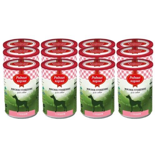Корм для собак Родные корма (0.34 кг) 12 шт. Мясное угощение с сердцем для собакКорма для собак<br>