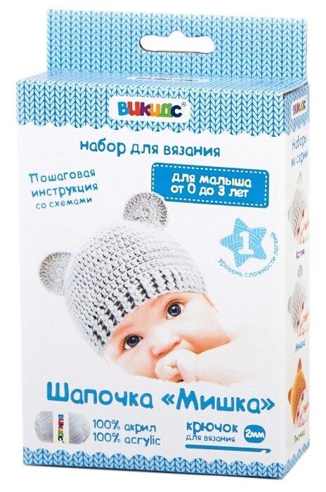 Викидс Набор для вязания крючком Детская шапочка Мишка
