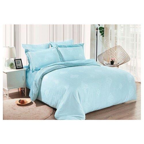 Постельное белье 2-спальное Cleo Soft cotton 019-SC, жаккард голубой постельное белье cleo кпб тенсел жаккард дизайн 015 евро