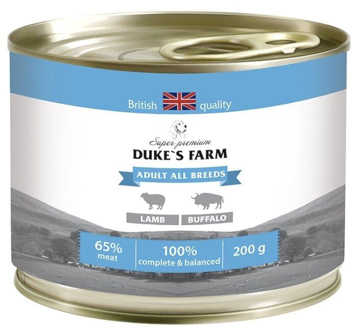 Корм для собак DUKE'S FARM ягненок, буйвол со шпинатом, с рисом