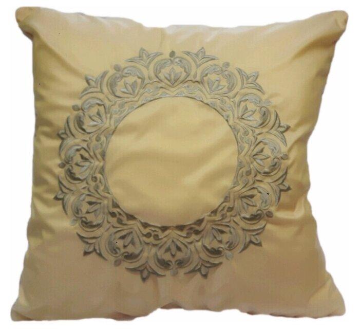 Подушка декоративная с вышивкой и кантом FLAUM HOME/флаум хоум, медовый, 50х50