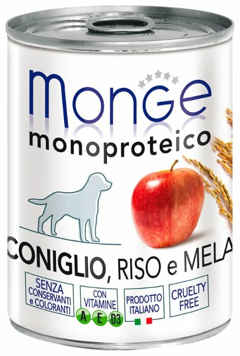 Корм для собак Monge Monoprotein кролик с рисом, с яблоком 3шт. х 400г
