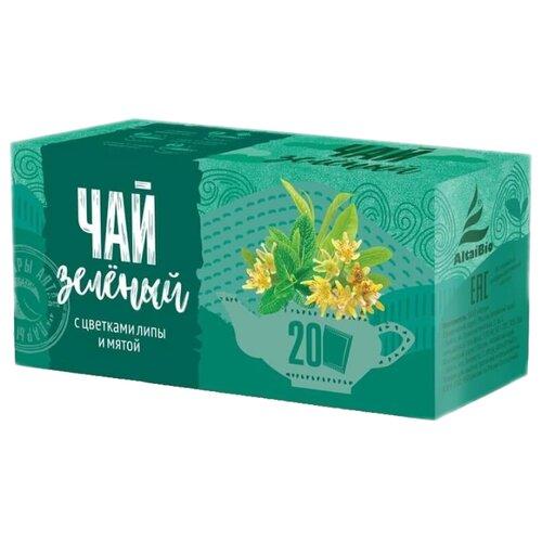 Чай зеленый Алтэя с цветками липы и мятой в пакетиках , 20 шт.