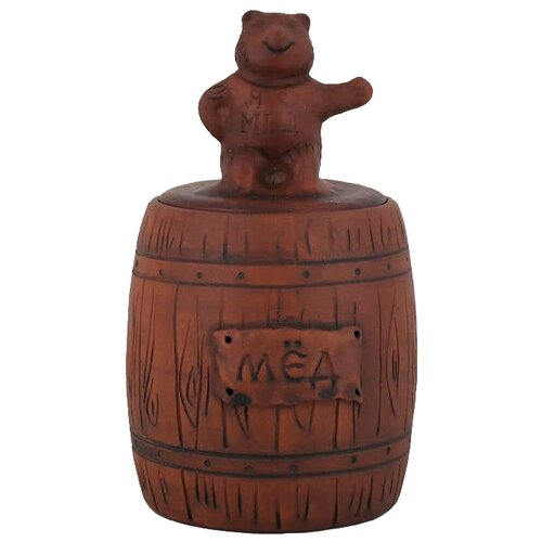 Гжельская Гончарня Банка для меда Мишка 300 мл коричневый