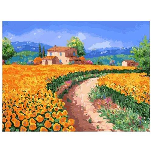 картина по номерам color kit натюрморт с подсолнухами 30x40 см Картина по номерам Поле с подсолнухами, 30x40 см
