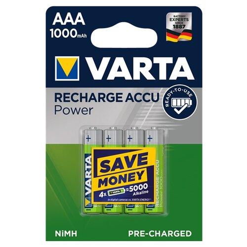 Фото - Аккумулятор Ni-Mh 1000 мА·ч VARTA Recharge Accu Power 1000 AAA 4 шт блистер аккумулятор ni mh 1000 ма·ч gp rechargeable 1000 series aaa usb светильник 4 шт блистер