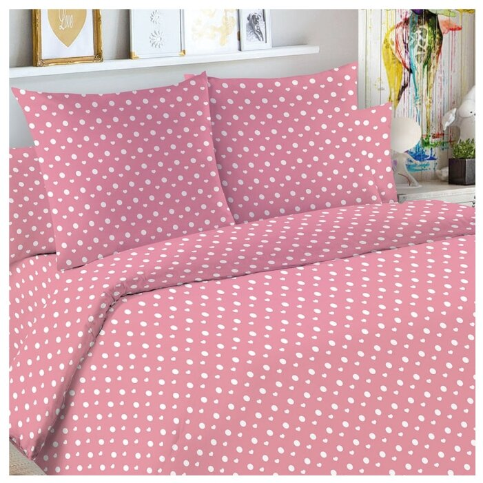 Постельное белье 1.5-спальное Letto Горошек 50х70 см бязь розовый