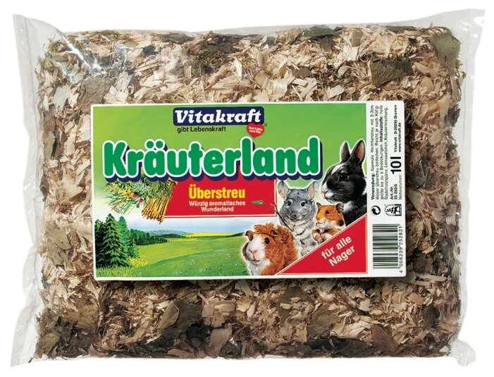 Наполнитель древесный Vitakraft Субстрат травы, хвоя Überstreu Kräuterland 10 л