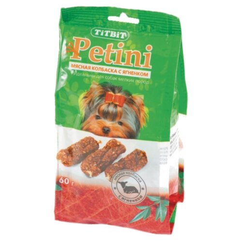 Лакомство для собак Titbit Колбаски Petini с ягненком, 60 г titbit лакомство вяленое для собак кусочки легкого бараньего уп 60 г