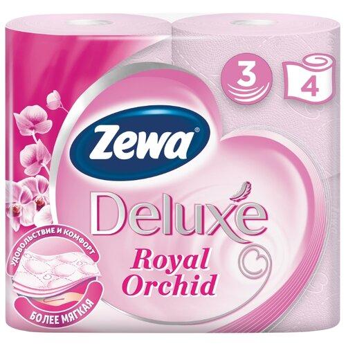 Туалетная бумага Zewa Deluxe Орхидея трёхслойная 4 шт.Туалетная бумага и полотенца<br>