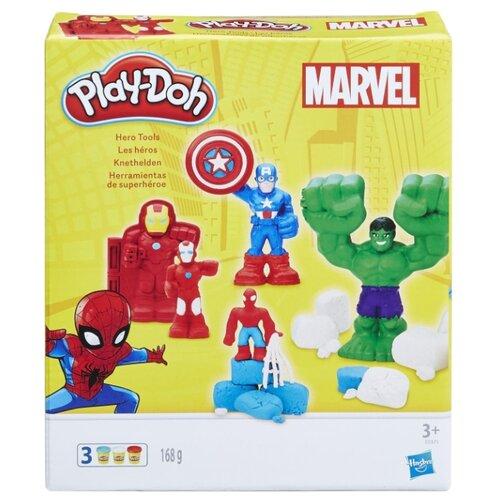 Масса для лепки Play-Doh Герои Марвел: Железный Человек, Человек-Паук, Капитан Америка, Халк (E0375)Пластилин и масса для лепки<br>