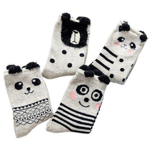 Носки Caramella Панда-2, 4 пары, размер 22-25, серый/черный