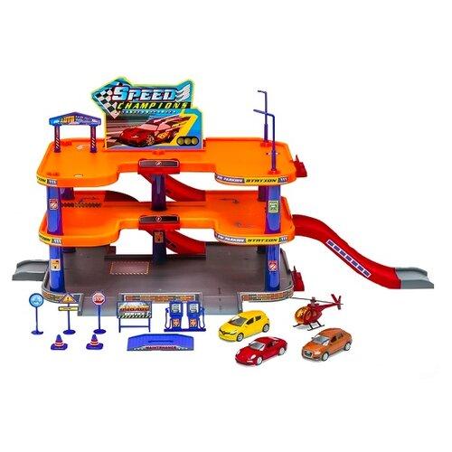 Купить Welly 96050 оранжевый/голубой/серый/красный, Детские парковки и гаражи