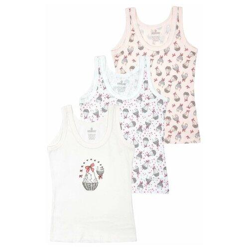 Купить Майка BAYKAR 3 шт., размер 122/128, белый/молочный/розовый, Белье и купальники