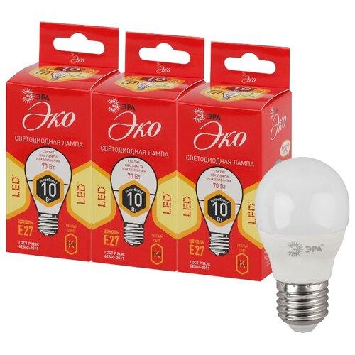 Упаковка светодиодных ламп 3 шт ЭРА E27, P45, 10ВтЛампочки<br>