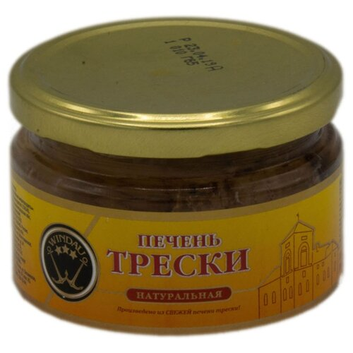 WINDAU Печень трески натуральная, 230 г печень трески по мурмански goldfish 190г
