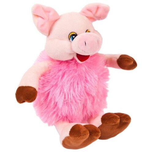 Мягкая игрушка ABtoys Свинка пушистая розовая 17 см