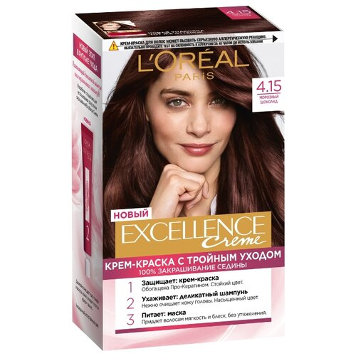 L'Oreal Paris Excellence стойкая крем-краска для волос, 4.15, Морозный шоколад l oreal paris excellence стойкая крем краска для волос excellence оттенок тёмно русый бежевый