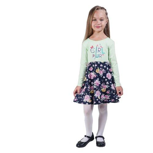 Платье Belka размер 128, оливковый/темно-синий
