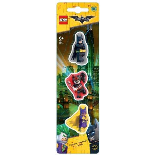 LEGO Набор ластиков Batman movie (Batman/Batgirl/Harley Quinn) 3 шт. черный/красный/желтый брелоки lego брелок фонарик для ключей lego batman movie лего фильм бэтмен harley quinn