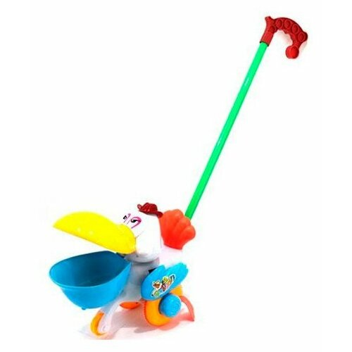 Купить Каталка-игрушка Shantou Gepai Пеликан (42015) белый/желтый/голубой/зеленый, Каталки и качалки