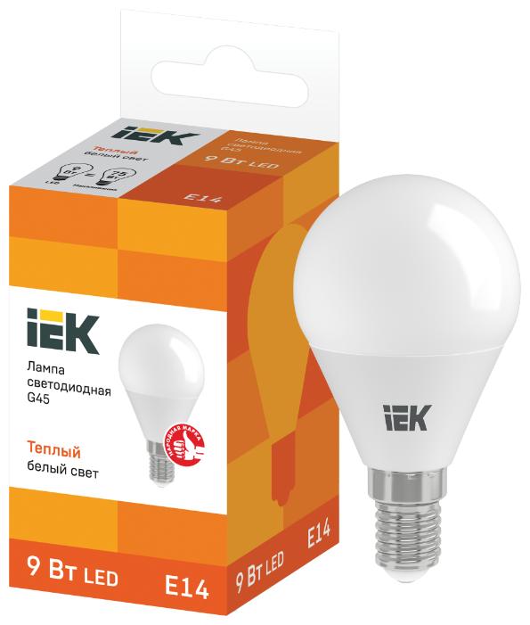 Лампа светодиодная IEK ECO шар 3000K, E14, G45, 9Вт — купить по выгодной цене на Яндекс.Маркете