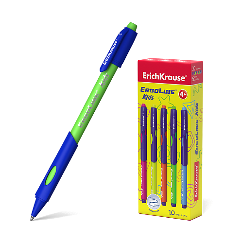 ErichKrause набор шариковых ручек ErgoLine Kids, Ultra Glide Technology (41539), синий цвет чернил набор шариковых ручек erich krause ultra l 10 цвет синий черный 4 шт