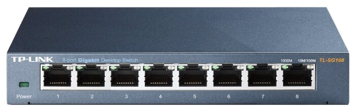 TP-Link TL-SG108 8-port Desktop Gigabit Switch, 8 10/100/1000M RJ45 ports,metal case SMB