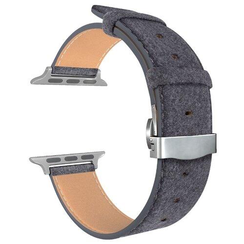 Lyambda Кожаный ремешок Minkar для Apple Watch 42/44 mm (DSP-10) grey ремешок для часов lyambda для apple watch 42 44 mm minkar dsp 10 44 black