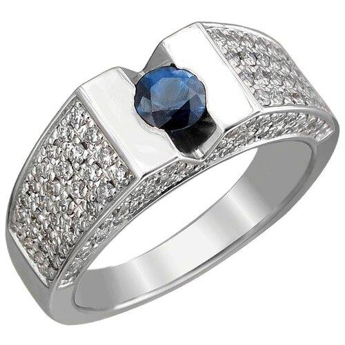Эстет Кольцо с бриллиантами и сапфиром из белого золота 01К623795-1, размер 18