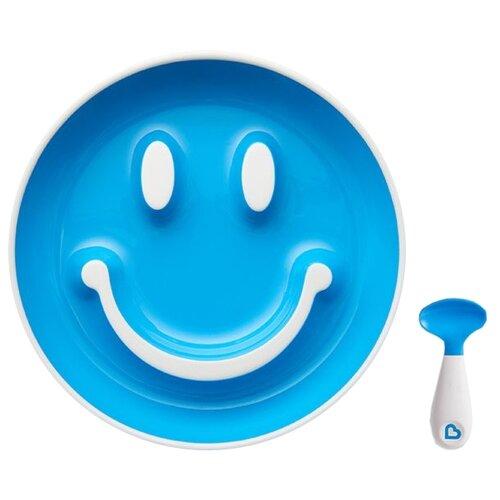 Купить Тарелка Munchkin Улыбка (12449) голубой, Посуда