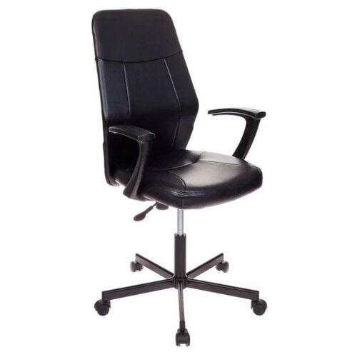 Компьютерное кресло Бюрократ CH-605 офисное, обивка: искусственная кожа, цвет: черный кресло бюрократ ch 605 на колесиках искусственная кожа черный [ch 605 black]