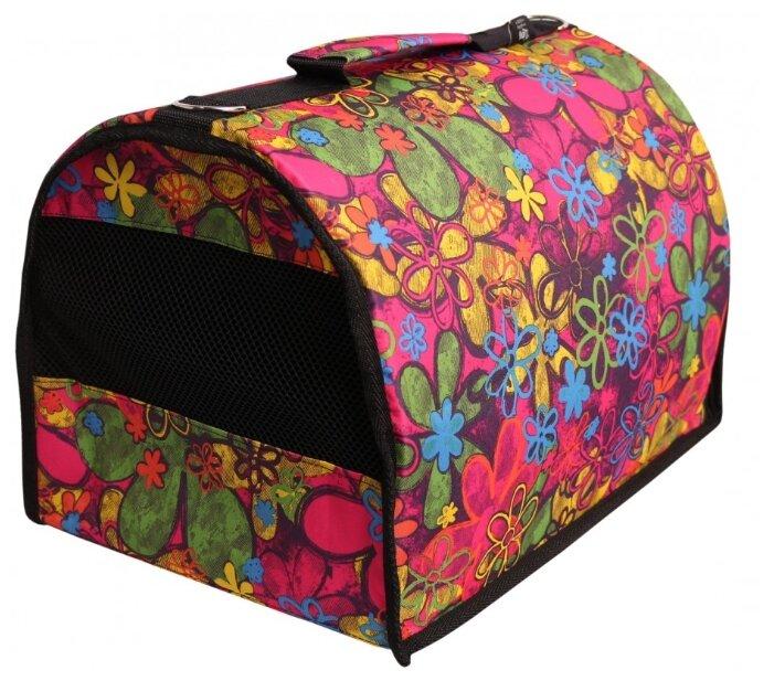 Переноска-сумка для собак Lion Standart M 43х27х29 см розовый сердечки