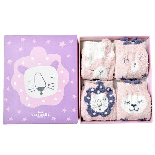 Носки Caramella Звездный тигр, 4 пары, размер 22-25, розовый/белый/фиолетовый