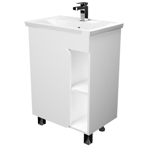 Тумба для ванной комнаты 1Marka Nuvo Н, ШхГхВ: 56х38.6х82 см, цвет: белый глянец