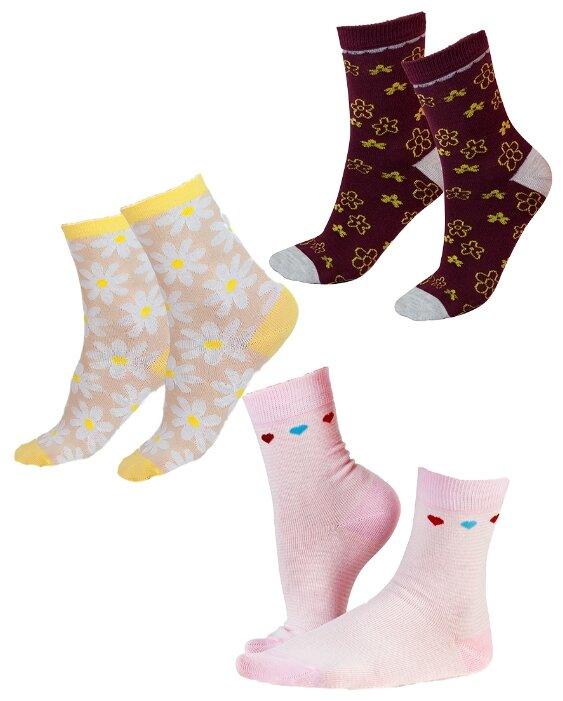 Купить Носки IDILIO комплект 3 пары размер 16-18 см, бордо/розовый/желтый по низкой цене с доставкой из Яндекс.Маркета (бывший Беру)