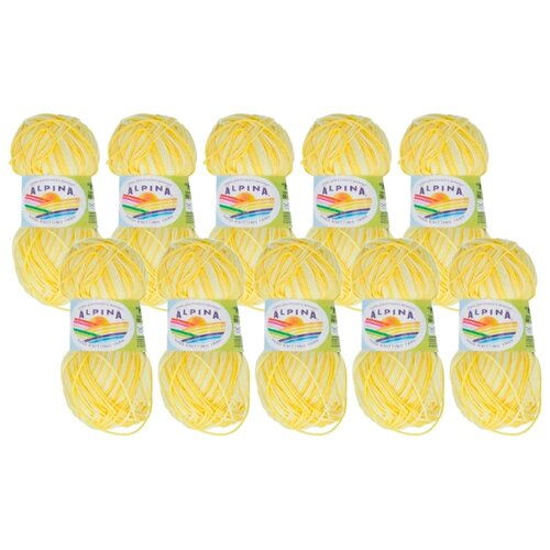 Купить Пряжа Alpina Katrin, 100 % хлопок, 50 г, 140 м, 10 шт., №046 св.желтый-яр.желтый