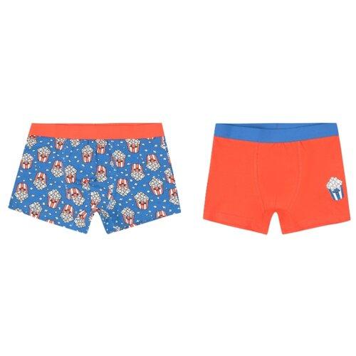 Купить Трусы Leader Kids 2 шт., размер 110-116, оранжевый/синий, Белье и пляжная мода