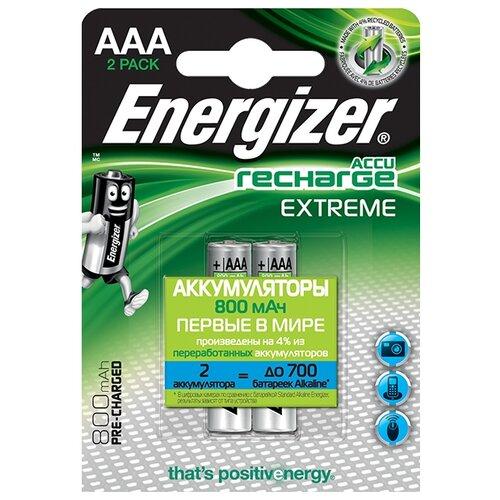 Аккумулятор Ni-Mh 800 мА·ч Energizer Accu Recharge Extreme AAA 2 шт блистерБатарейки и аккумуляторы<br>